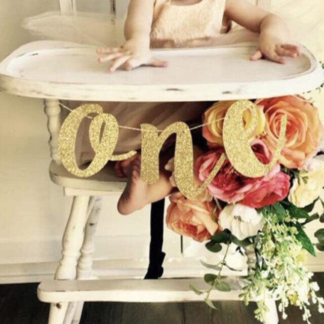 Glitter one Banner Girl Boy 1st Birthday High Chair Baby Shower Party Decor O TB
