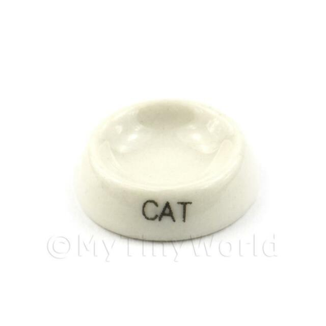 Dolls House Miniature White Handmade Ceramic Cat Bowl