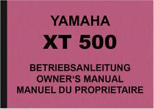 YAMAHA XT 500 xt500 manuale Istruzioni Owners OWNER'S MANUAL MANUEL