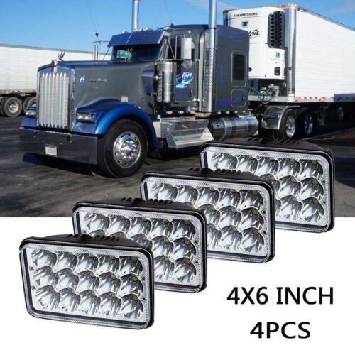 """4pcs 4x6/"""" 45W Crystal Projector Headlight LED fit Kenworth W900 T600 T800"""