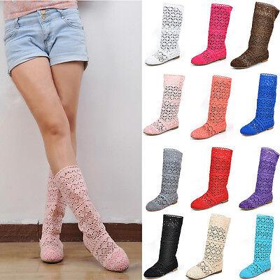 Womens Bohemian BOHO Summer Flats Cut Out Shoes Knitted Knee High Crochet Boots