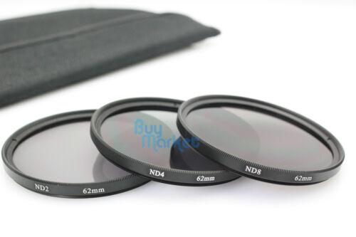 New 62mm ND2+ND4+ND8+UV+CPL+Soft Filter Set ND FREE CASE for DSLR Lens 6pcs