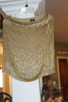 INC International Concepts Gold Silk Skirt Bugle  Bead  6P 6 NEW $118   (bin46)