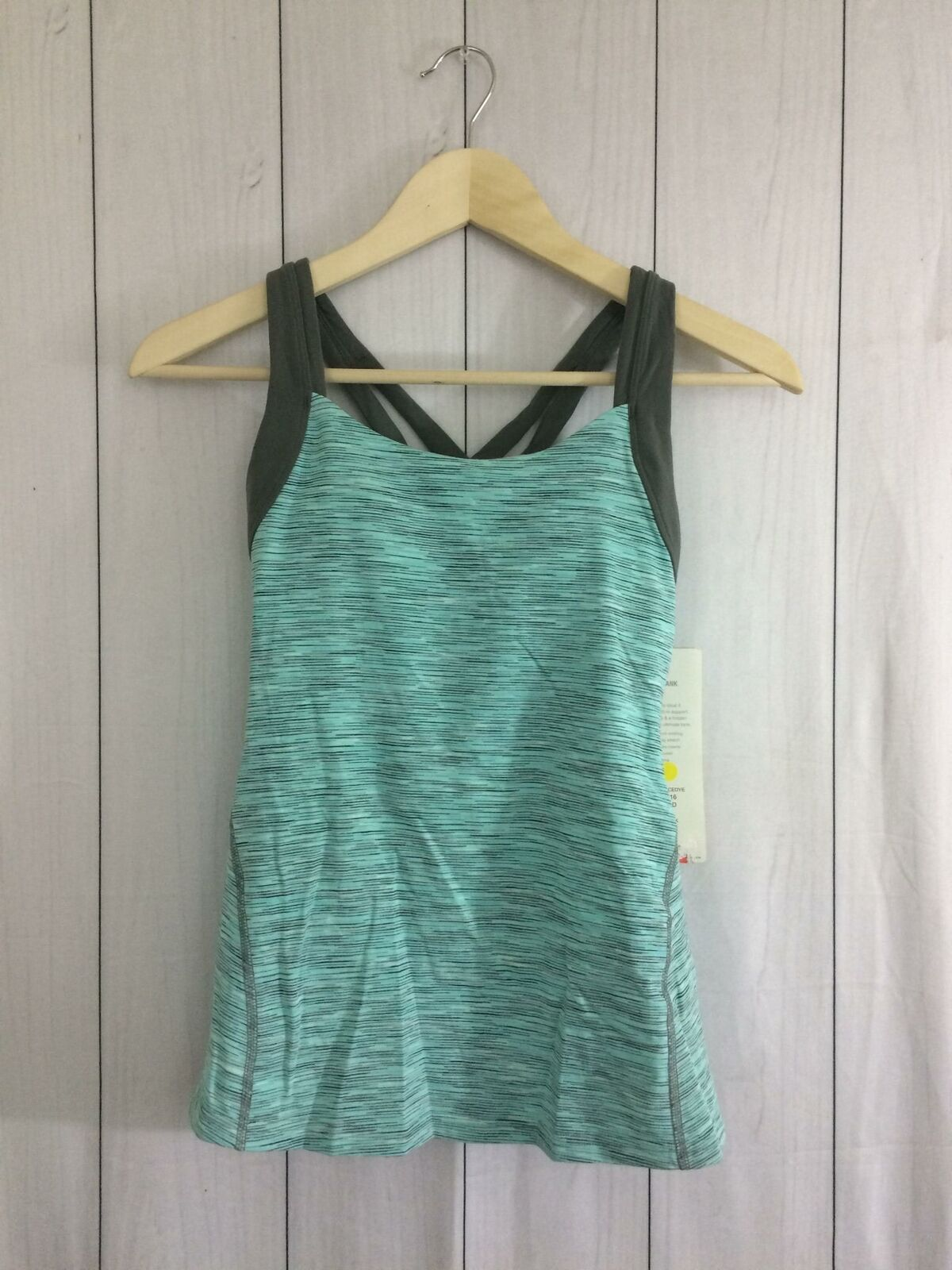Lucy Womens Fitness Fix Tank Top Built in Bra Teal Size XS