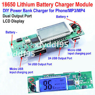 18650 BatterieCharging Regler Modul LCD Prozentsatz Anzeige 5V 2A Dual USB DIY