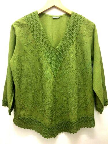 GREEN pretty Embroidered COTTON Hippy Boho retro summer TUNIC TOP blouse L XL
