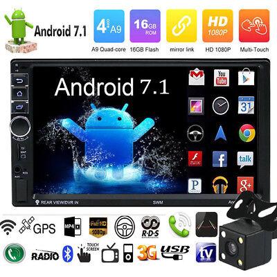 "Quad Core Android 7.1 3G WIFI de 7"" 2DIN Car Radio estéreo MP5 GPS Player+Cámara"