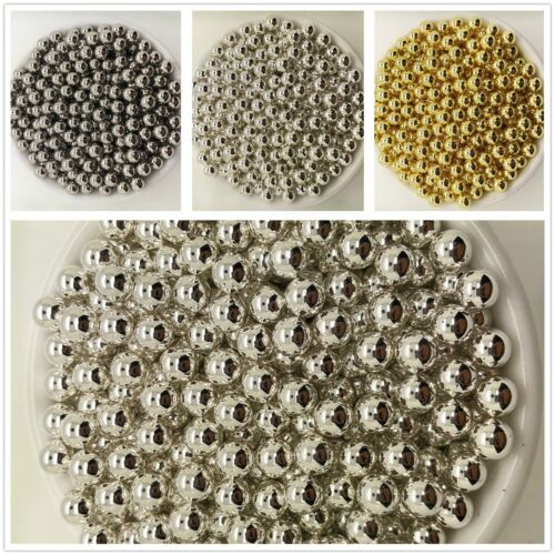NEW DIY 4//5//6//8//10MM Gold Silver Acrylic No Hole Round Pearl Spacer Loose Beads