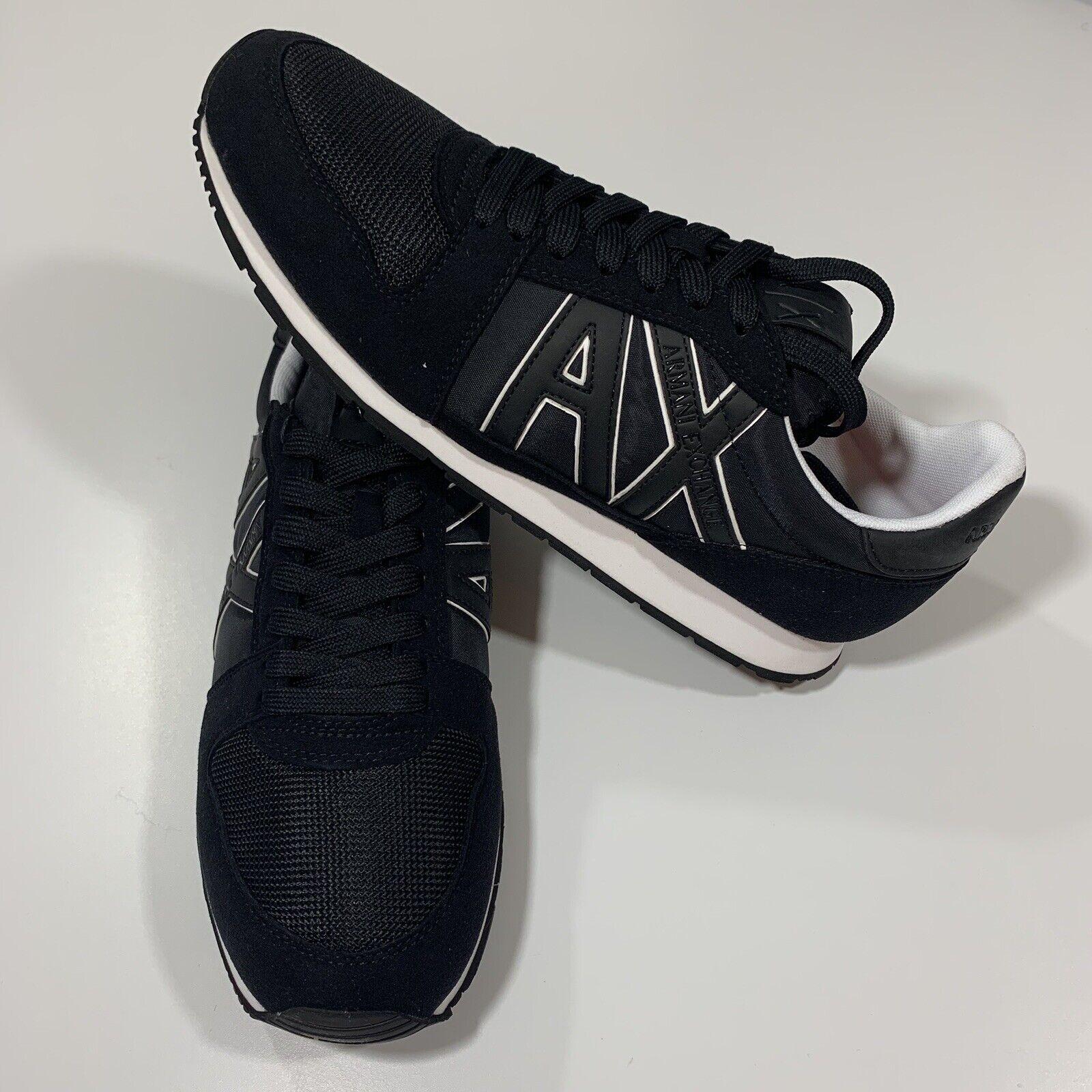 ARMANI EXCHANGE A X LOGO Mens Retro Low Top Trainers scarpe da ginnastica (Dimensione 11 ) nero