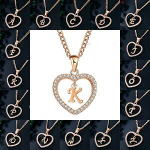 Fashion Rose Gold Initial Alphabet Letter A-Z Love Heart Pendant Chain Necklace