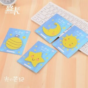 4pk Cute Sun Star Moon Earth Planet Novelty Sticky Notes Pad Page Index Markers 727267313253