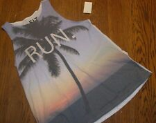 "New Ladies Large FIT ""RUN."" Tank Top nwt Tropical Palm Trees"