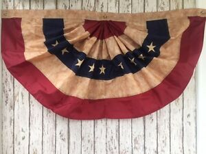 Embroidered Tea Stained American Flag Fan Bunting ~ 4 ft Wide ~ USA Swag Banner