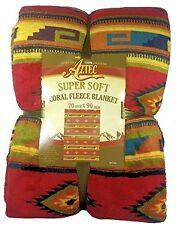 Aztec Southwestern Soft Coral Fleece Throw Blanket 70 x 90, New