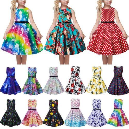 50s Dress for Girls Sleeveless Vintage Retro Swing Skirt Party Dresses with Belt
