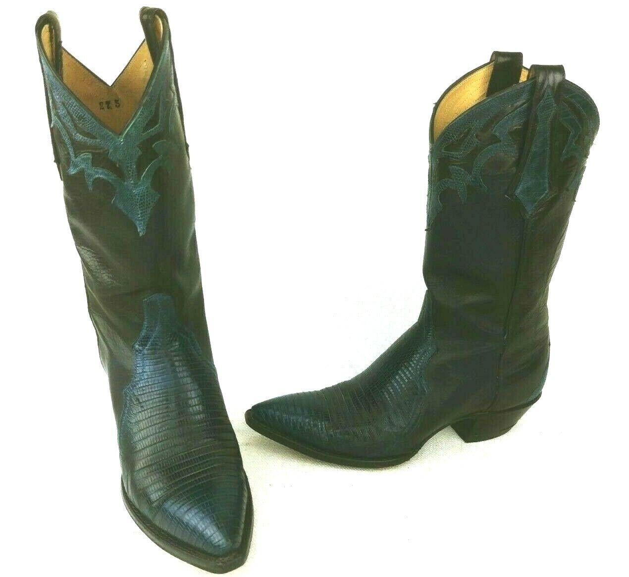 Larry Mahan damen Blau Lizard Skin Cowboy Stiefel Größe 27.5