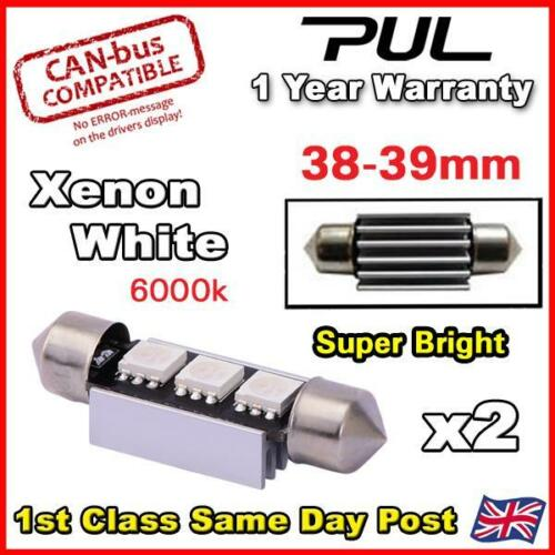2x ERROR FREE CANBUS XENON WHITE 3 SMD LED 39mm 239 272 C5W NUMBER PLATE BULB
