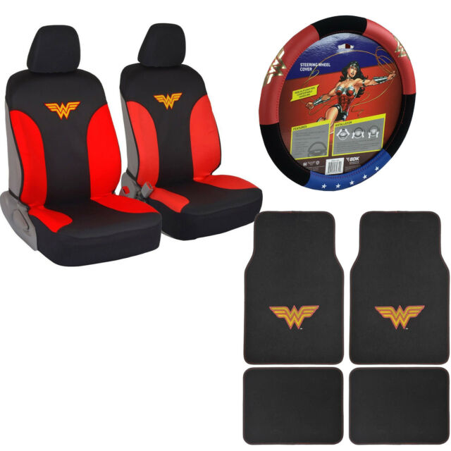 New Wonder Woman Car Truck Front Seat Covers Floor Mats Steering Wheel Cover Set