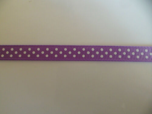 2 mtrs of Polka Dot Grosgrain Ribbon 10mm wide lilac and white satin crafts xmas