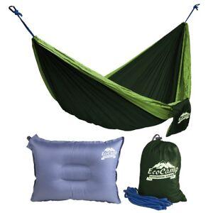 Portable Camping HammockLightw<wbr/>eight, Heavy-Duty, Parachute Nylon + Bonus Pillow