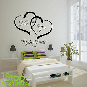 Wall Art Stickers Quotes me and you love heart wall sticker quote - home wall art decal