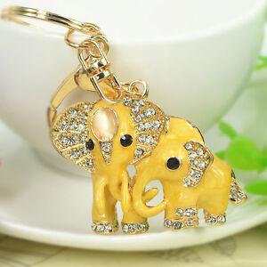 New-Mother-Baby-Elephant-Keyring-Rhinestone-Keyring-Pendant-Key-Bag-Chain-Gift