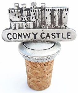 Conwy Castle Handcrafted From English Pewter Bottle Stopper + Gift Bag