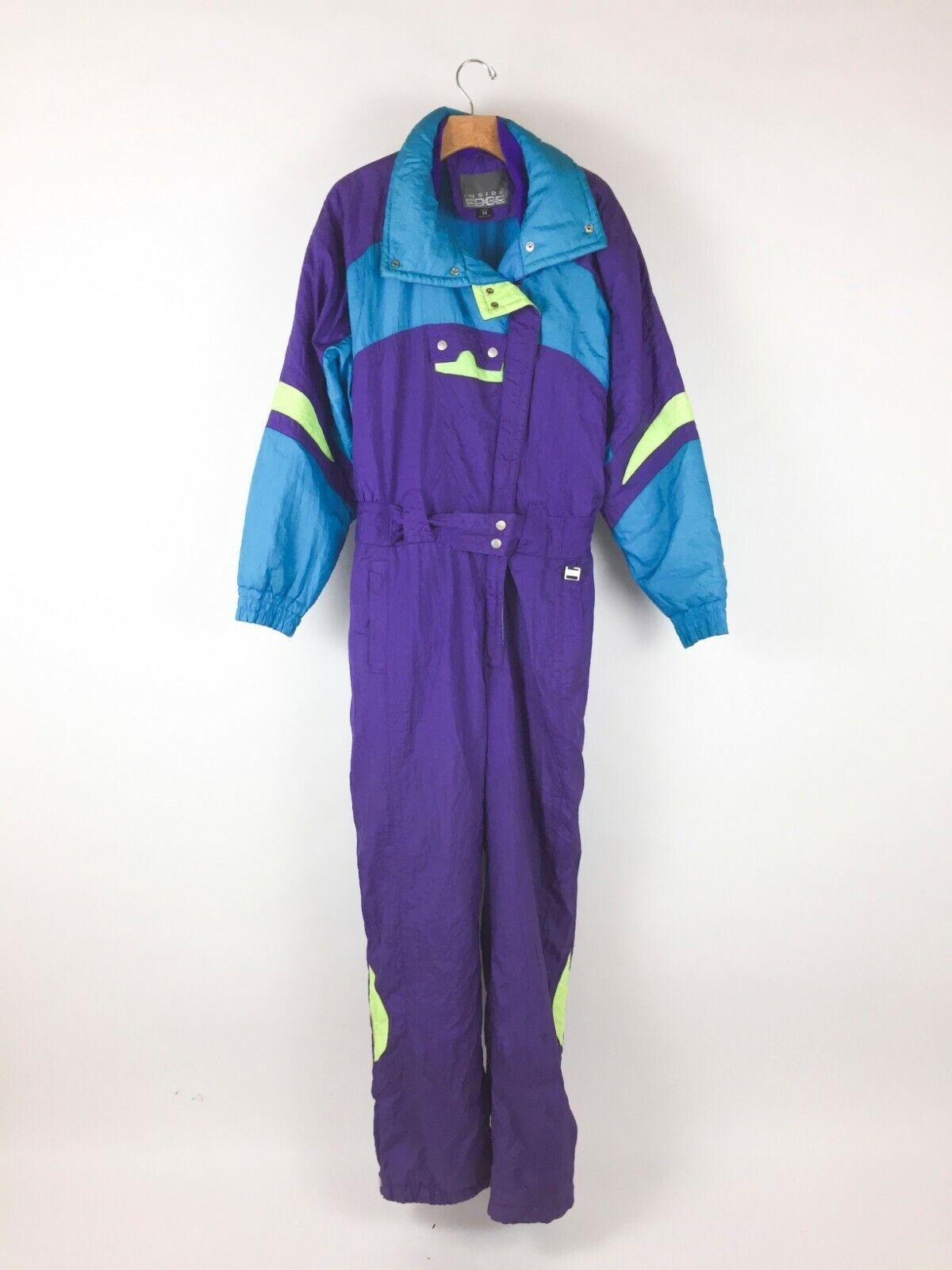 Vintage 1980s Inside Edge Womens Ski Suit Sz M Neon Turquoise Purple One Piece