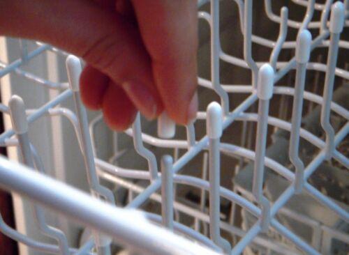 50 Universal White Dishwasher Rack Tine Tip Cover Caps   Just Push On to Repair