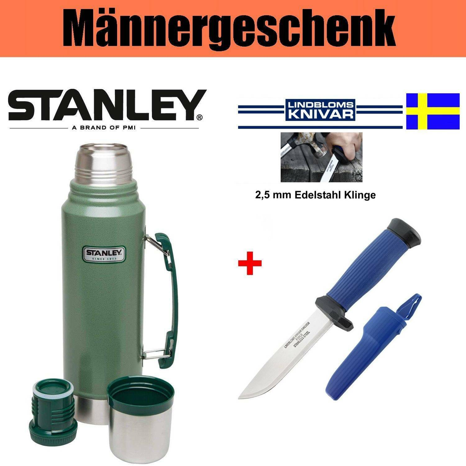 Männergeschenk Lindbloms Outdoor-Messer No.12 + Stanley Vakuum Thermosflasche
