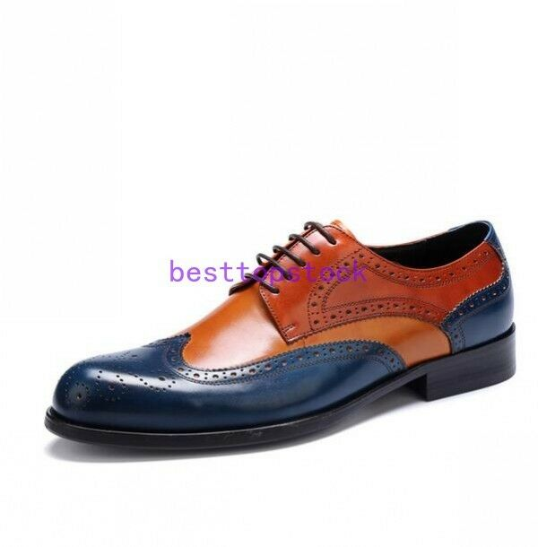 Wedding Uomo color matching brogue wing tip lace up dress formal formal dress shoes leather sz f5b42d