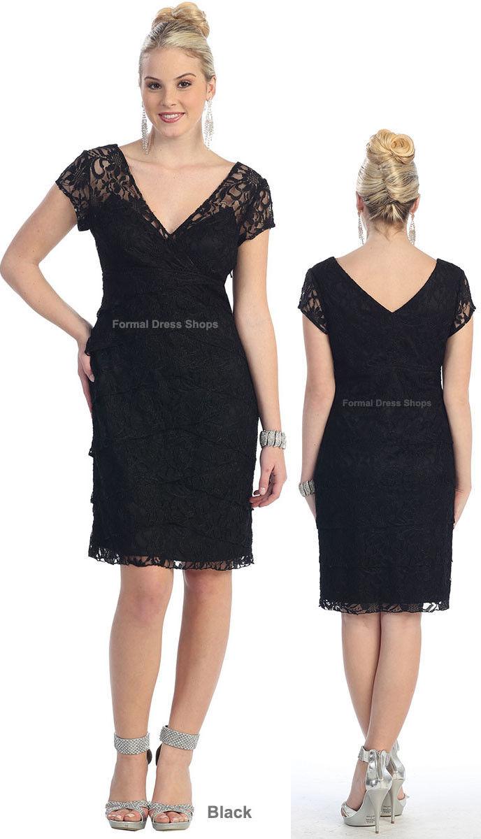 Details about SALE ! SHORT PLUS SIZE DRESS UNDER 100 LACE CAP SLEEVE MOTHER  of the BRIDE GROOM