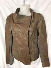 Q40 Asymmetrical Funnel Neck Weathered Leather Jacket For Women