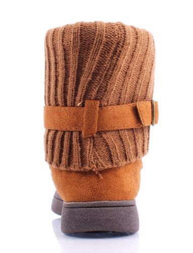 BAMBOO Girls Slip On Side Buckle Faux Suede Fur Toddler to Big Kids Youth Boots
