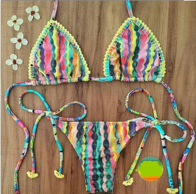 Swimwear Bikini Swimsuit Bathing Suit Padded Bikini Brazilian Bra Stripe Vintage