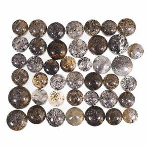42-Pcs-Natural-Black-Sunstone-Glittering-7mm-11mm-Ring-Size-Cabochon-Gemstones