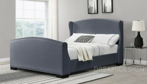 Details About Wing Back Sleigh Bed Linen Fabric Double Or King Size White Dark Grey
