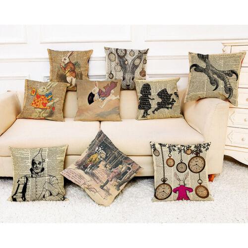 Cartoon Alice In Wonderland Cotton Linen Pillow Case Cushion Cover Home Decor Garden