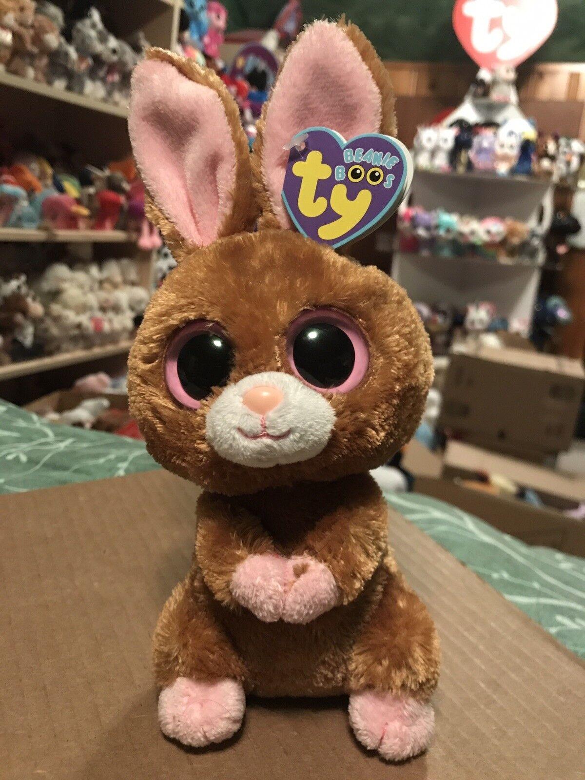 "Ty HOPSON -Brown Pink MWMTs MWMTs MWMTs Easter Rabbit 6"" Beanie Boo  Retired RARE & VHTF   c86c71"