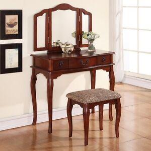 Tri Folding Mirror Cherry Wood Vanity Set Makeup Table