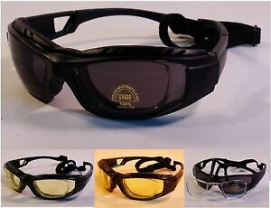 9ab70435b7 Image is loading 514PR-Padded-Motorcycle-Glasses-Goggles-RX-Adapter -Removable-