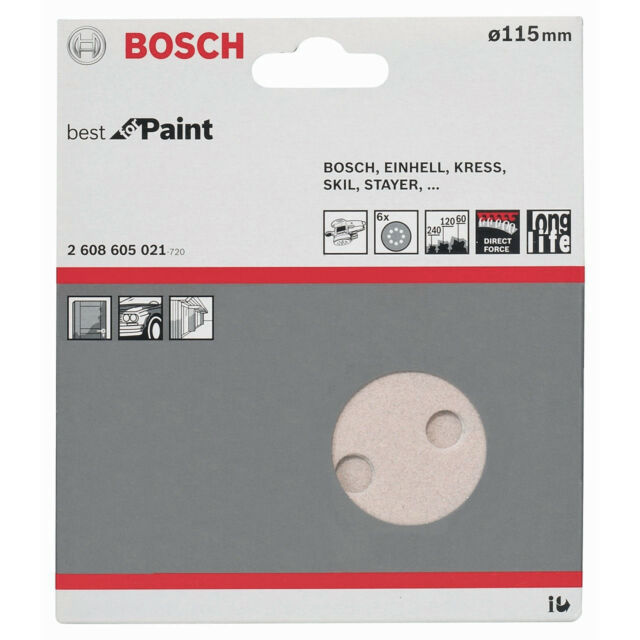 10x 6er Bosch Schleifscheibe Best f Paint Schleifpapier 115mm Körnung 60/120/240