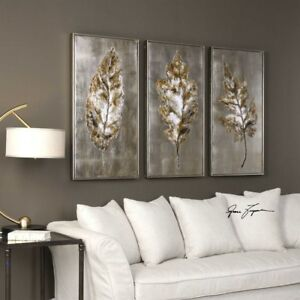 Image Is Loading Champagne Leaves Hand Painted Canvas Wall Art Framed