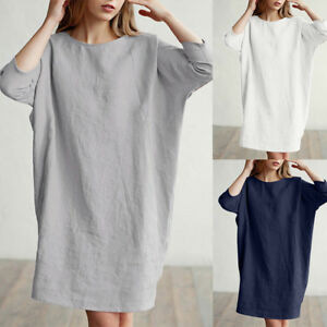 Women-Casual-Patchwork-1-2-Sleeved-Cotton-Linen-Loose-Pockets-Tunic-Dress-New