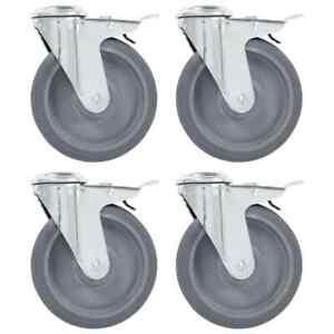 vidaXL-4x-Bolt-Hole-Swivel-Casters-with-Double-Brakes-125mm-TPR-Trolley-Wheel