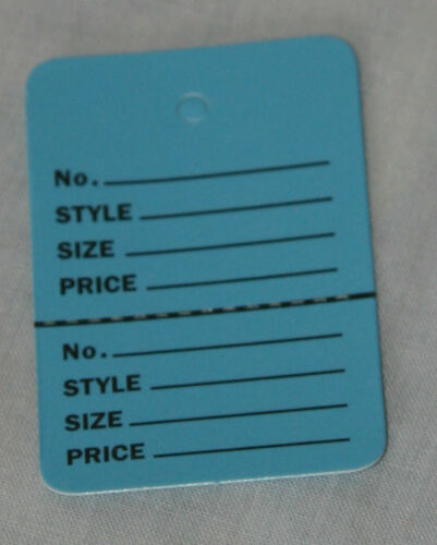 100 BLUE Small 1.1//4 x1.7//8 Perforated Unstrung Price Consignment Store Tags