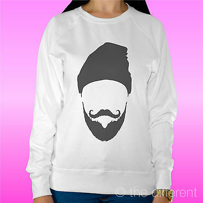 "Felpa Donna Leggera Sweater Bianco "" Beard Hat Barba Cappello"" Road To Happiness"