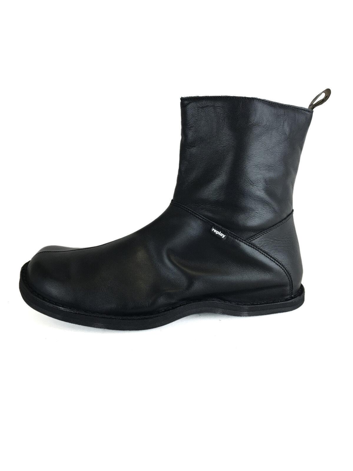 Replay GM1037 negro Vintage Men Leather mid botas
