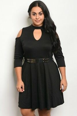 NY Collection Dress Womens 1X Black Velvet Cold Shoulder Plus Size MRSP $70