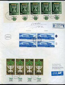 ISRAEL KNESSET PLATE BLOCK REG-FDC W/MENORAH TAB STRIPS#93 & #142 TO BOLIVIA